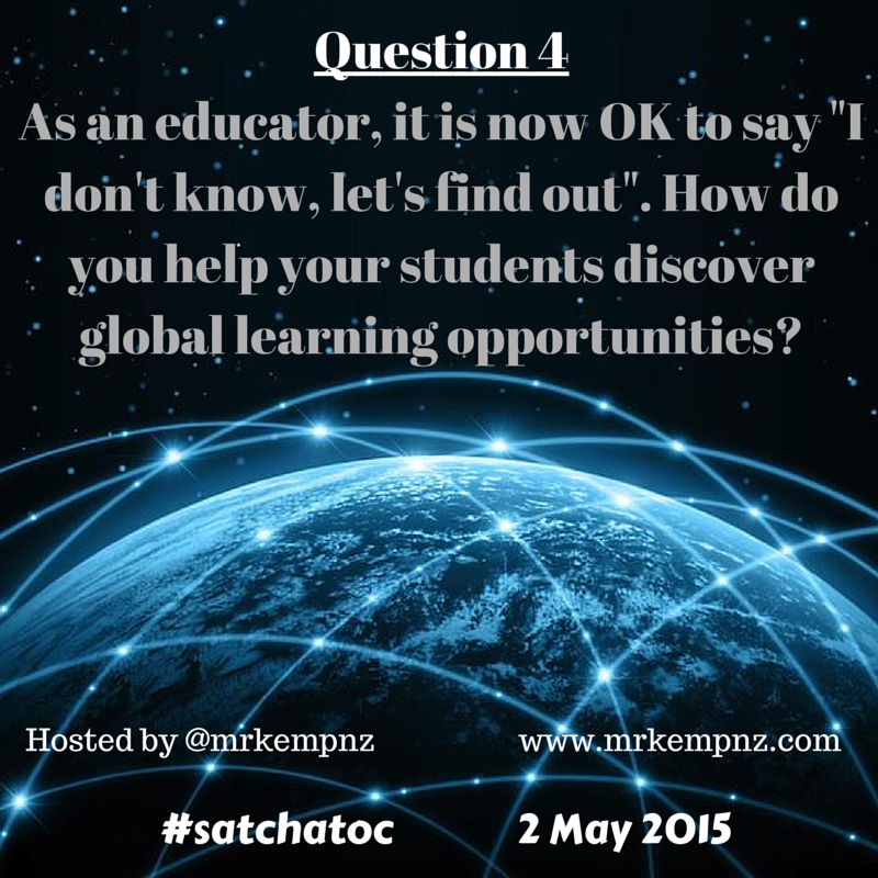 30 minutes to go until #satchatoc make sure you are there as we discuss Engaging Students in a Globally Connected Cl… http://t.co/HpJCStFC7N