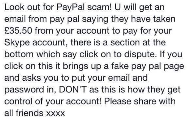 URGENT IMPORTANT - PAYPAL & SKYPE EMAIL SCAM please read & Retweet on #beckbromfl #londonhour http://t.co/6CsT9hTqs9