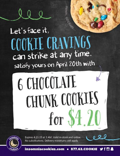 PSA: 6 chocolate chunk cookies for $4.20 today only http://t.co/E2GisPmNkA RT to save a life http://t.co/k1bX2PAY2c