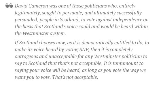 """Nicola Sturgeon says it is """"completely outrageous and unacceptable"""" for Cameron to object to SNP affecting laws - http://t.co/tnSgng3aUQ"""