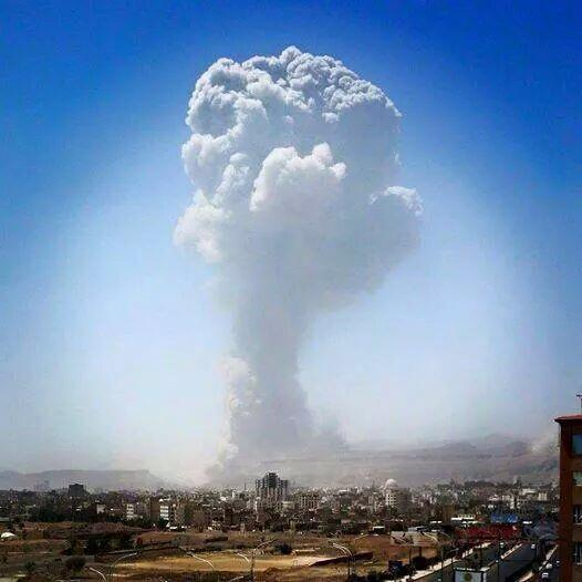 This isn't Hiroshima, this is #Yemen's capital Sanaa today, signed by #OpDecisiveStorm. How much more & until when?! http://t.co/LuzjC693H6