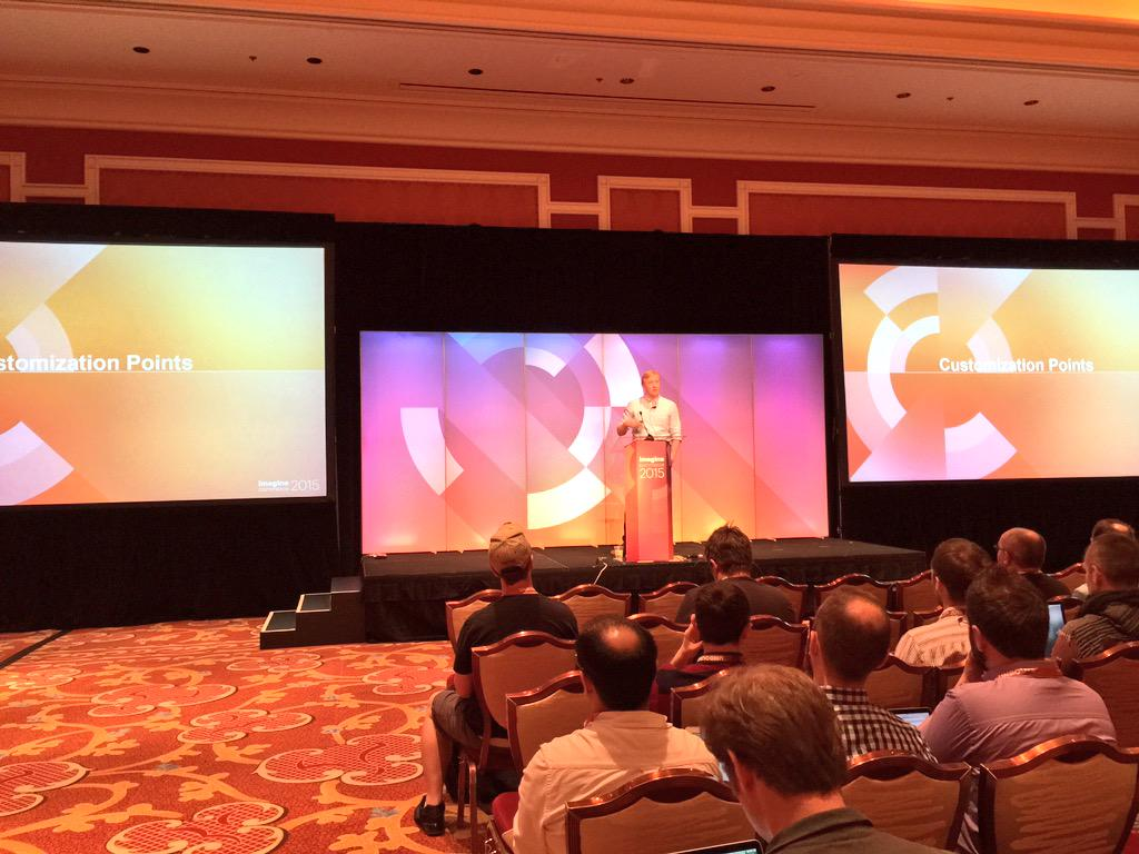 benmarks: The #ImagineCommerce Magento 2 deep dive is back under way with a code customization pres from @AntonKril & @vrann http://t.co/o06sxrdkc5