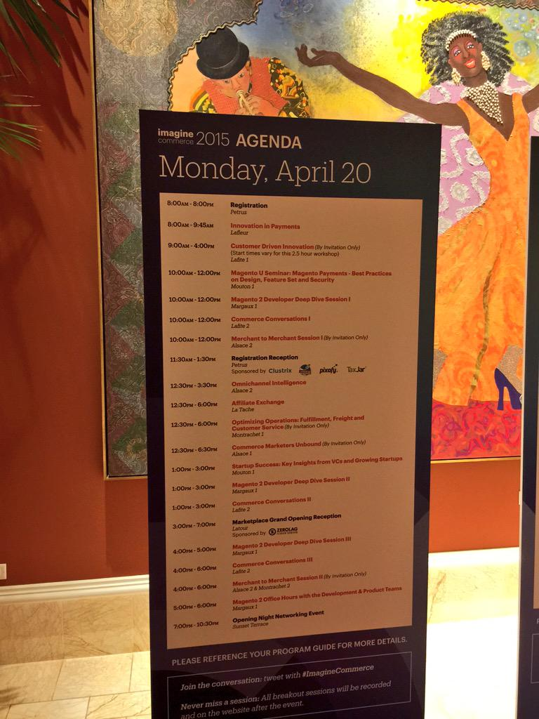 benmarks: Monday's agenda for #ImagineCommerce... I'm MC in Margaux all day for Magento 2 deep dive! http://t.co/NjOHLbi4rS