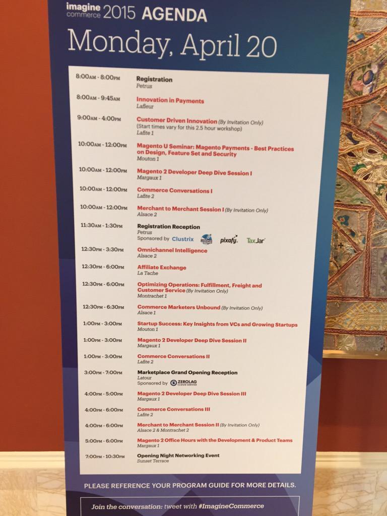 DCKAP: Agenda Day 1, 2, 3 #ImagineCommerce http://t.co/OENDHLGaBo