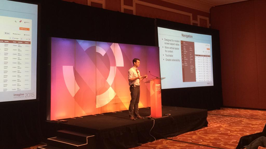 benmarks: First up at the #ImagineCommerce Magento 2 Deep Dive, Head of Product Design for Magento and eBay Enterprise. http://t.co/HGFqz75juV