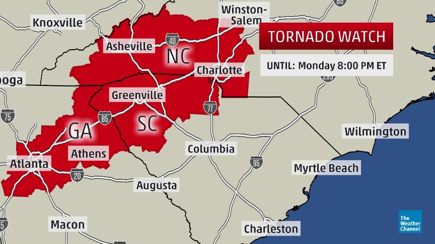 Georgia Tornado Map breaking: #tornado watch now in effect until 8pm edt for parts of  Georgia Tornado Map