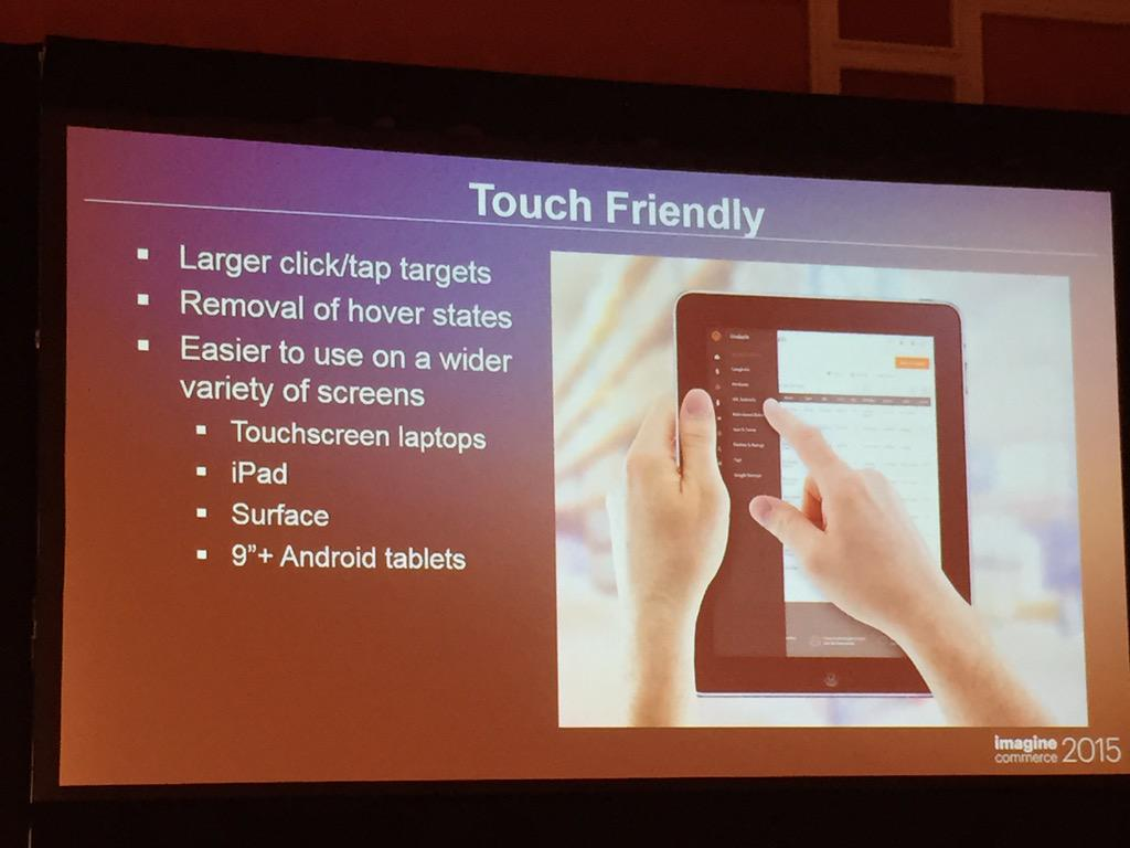 phoenix_medien: #Magento2 admin will be touch friendly #ImagineCommerce http://t.co/TpRELYfiKC