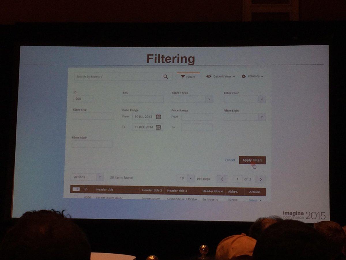 antoinekociuba: #Magento 2 Deep Dive Session - Nouveautés de l'admin - Flexible filtering features - #ImagineCommerce @AgenceSOON http://t.co/LUIylPT7ow