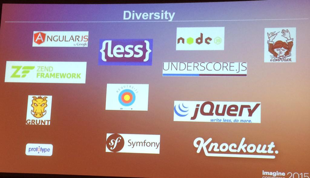 benjaminrobie: Magento2 theming offers diversity. No more use or die mentality. #ImagineCommerce #magento2deepdive http://t.co/9HMJThVGwk