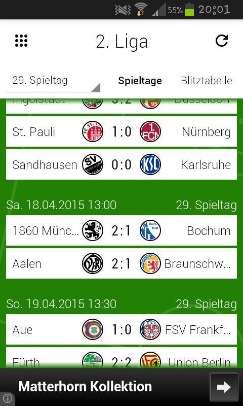 Blitztabelle Zweite Bundesliga