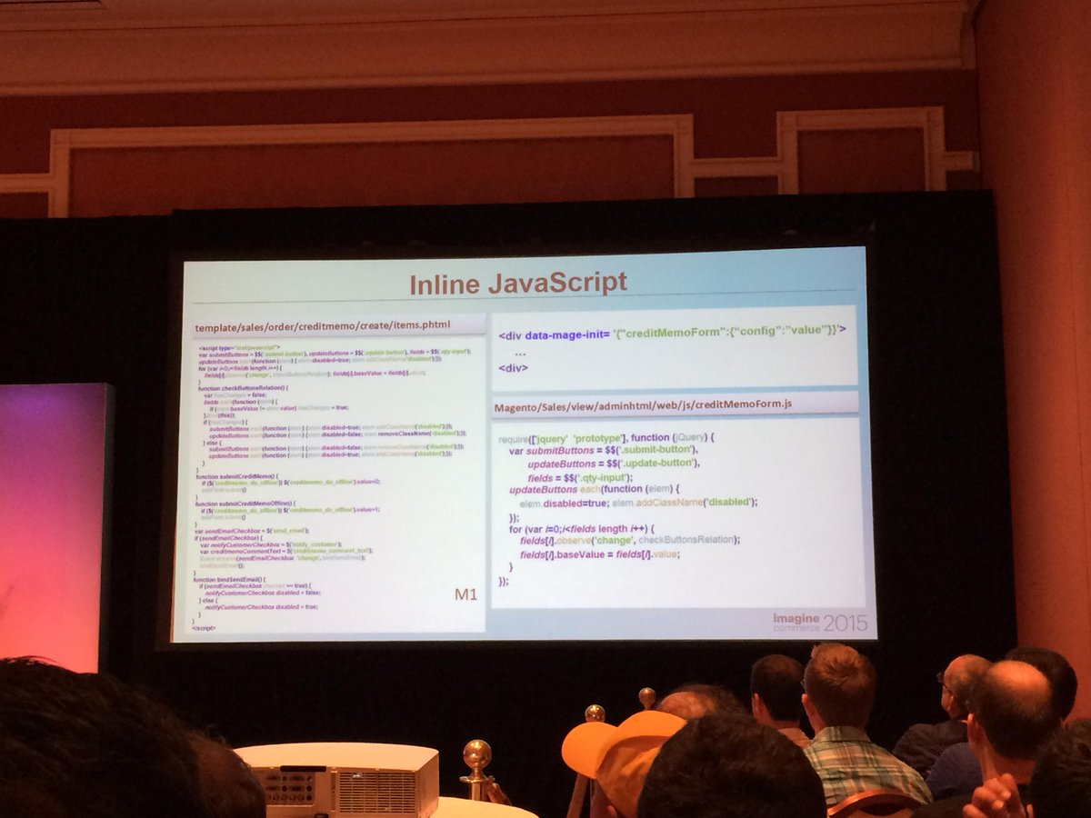 antoinekociuba: Finally less inline Javascript in #Magento2 <3 - #ImagineCommerce @AgenceSOON http://t.co/PxCncov6ps