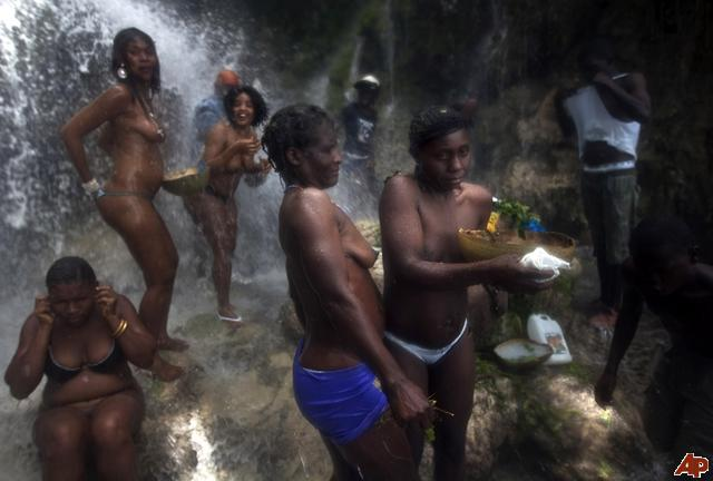 Black Women Bathing By The River