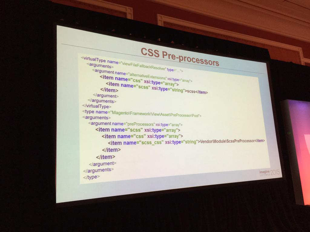 benmarks: Want SASS in Magento 2? It's easy via config. #ImagineCommerce http://t.co/6tTvY9Ih5W