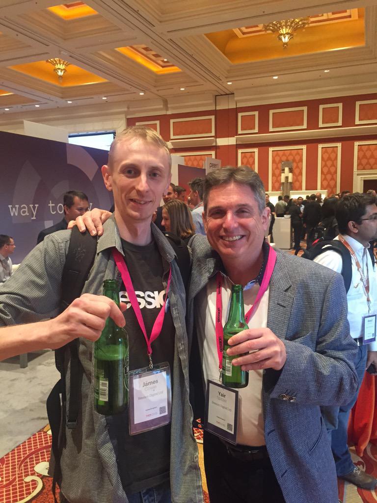 yairspitzer: Well deserved drink! @jcowie @sessiondigital earned it!weeks of hard work culminating in superb talk #MagentoImagine http://t.co/uFR8jkg3j0