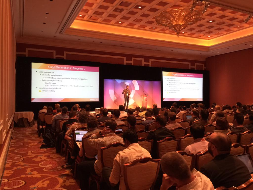 benmarks: And now at the #ImagineCommerce Magento 2 deep dive we have Sergii Shymko talking code generation. http://t.co/669D3wclW8