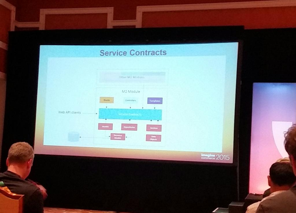 tig_nl: Magento 2 nieuwe architectuur met service contracts. #ImagineCommerce http://t.co/6svFNRxOfO