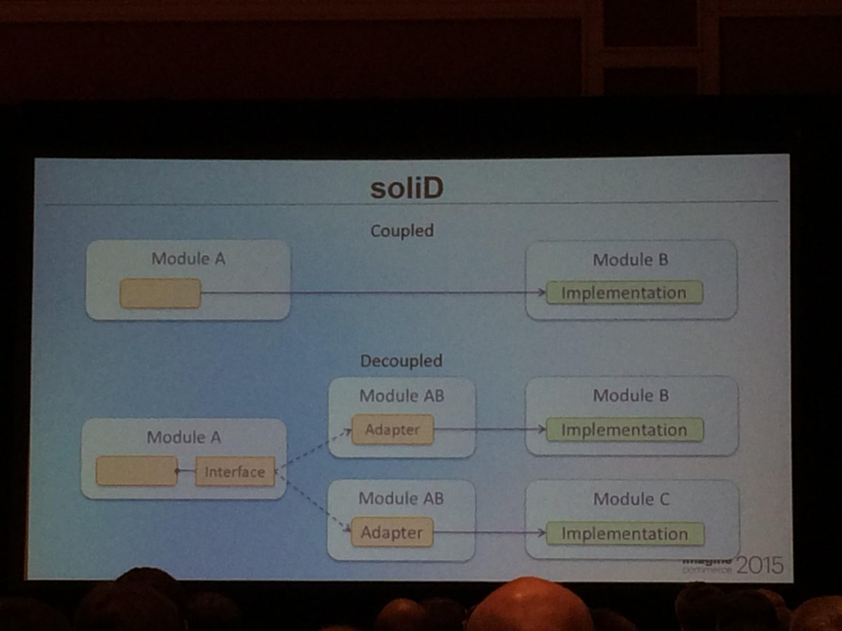 antoinekociuba: #Magento2 will definitely be more robust (SOLID, service contracts,Interception concept) #ImagineCommerce @AgenceSOON http://t.co/ppx35uYIo0