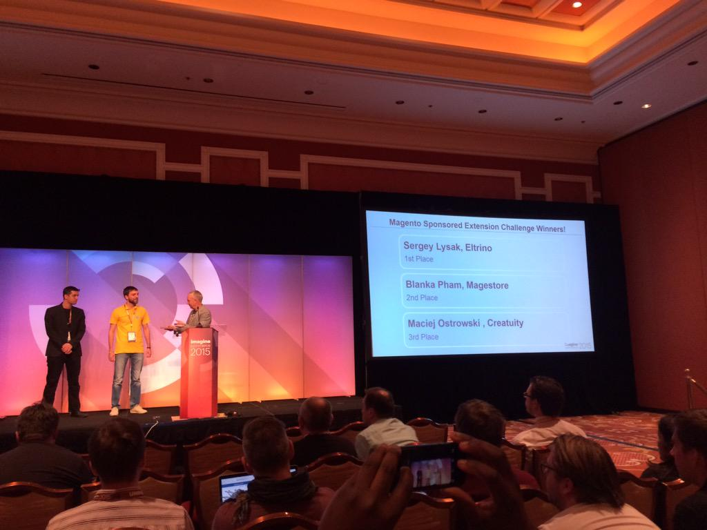 blackbooker: M2 challenge winners!!! @sergey_lysak Blanka from @magestore and macie from @Creatuity #magento2 #ImagineCommerce http://t.co/apgkpr6oDT