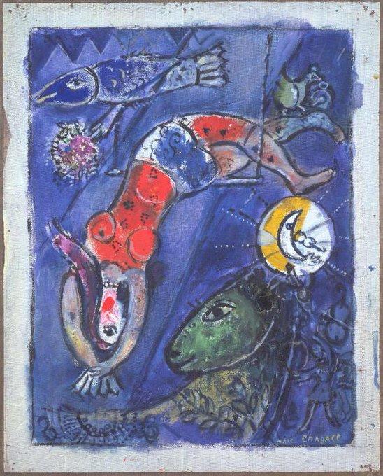 "Marc Chagall ~ ""The Blue Circus' (1950)  #art #twitart #artwit #kunst #arte #chagall #painting"