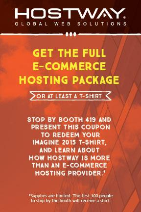 Hostway: Did you get your t-shirt coupon at #PreImagine last night? Head to booth 419 now! #morethanecommerce #ImagineCommerce http://t.co/Rjv7ZGYnv5