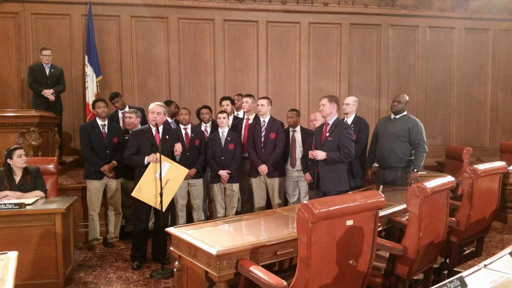 VASJ boys basketball team here being honored. 3.75 GPA average of this winning team. http://t.co/59PZQqx8ju