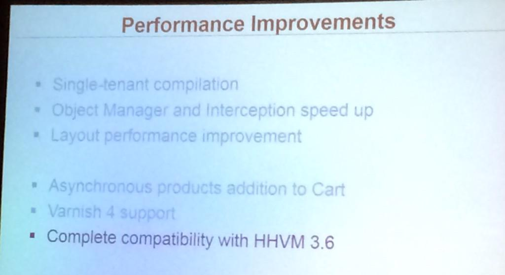 benjaminrobie: Magento2 is fully compatible with HHVM 3.6 #ImagineCommerce #magento2deepdive http://t.co/2v8dwECQ9I