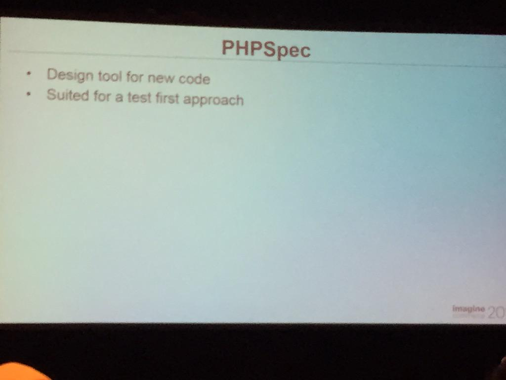 yairspitzer: @everzet & @_md would be pleased with this. @jcowie talking about #behat & #PHPSpec #MagentoImagine @sessiondigital http://t.co/vzKSCK9gmh