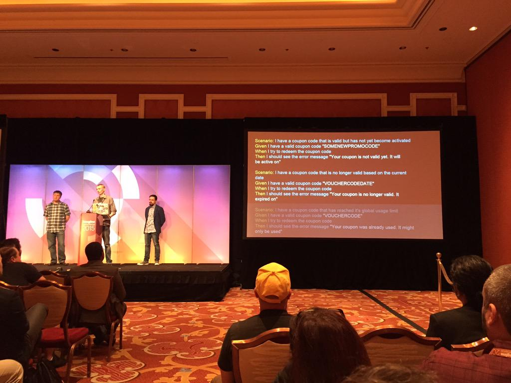 yairspitzer: @jcowie giving examples of @BehatPHP for @magento ... What a star!!!@sessiondigital #MagentoImagine http://t.co/ZxIsWIuHAX