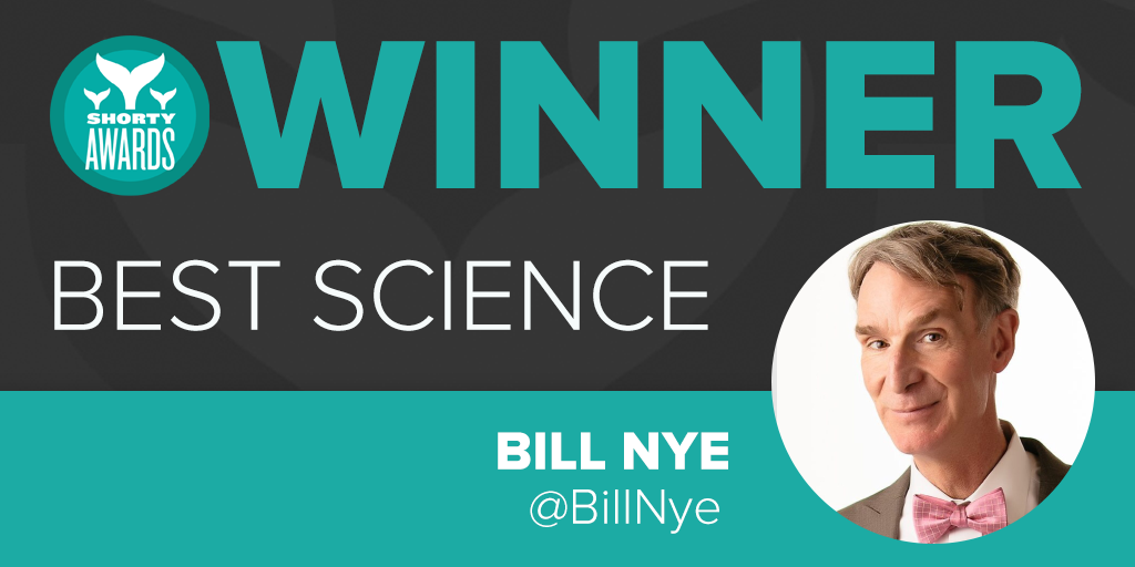 Congrats to @billnye winner of the Shorty Award for #Science presented by @Livestream!  #ShortyAwards http://t.co/c9nvPEJ2p4
