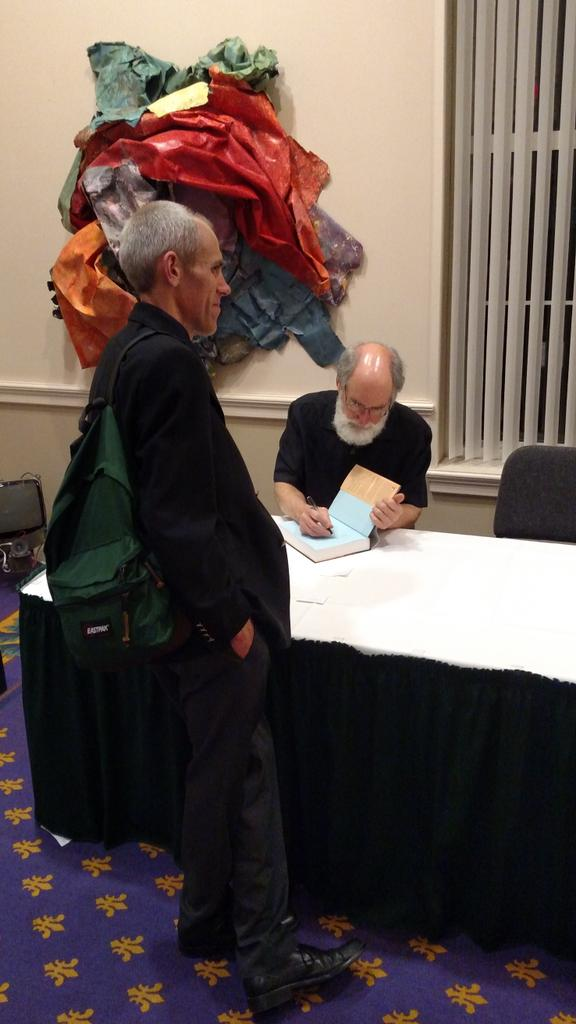 Dr. Don Kraybill signs Dr. Brian Newsome's copy of The Amish @EtownCollege  #etownscad15 http://t.co/EbEcryAAyR