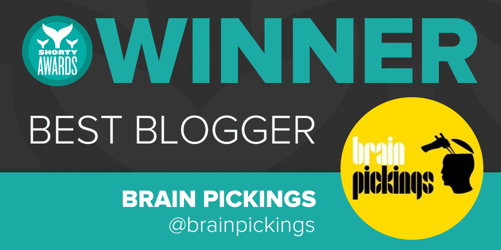 Congratulations to @brainpicker for winning the Shorty Award for #Blogger!  http://t.co/eh4mQqgrnB #ShortyAwards http://t.co/hzdeTCJlqL