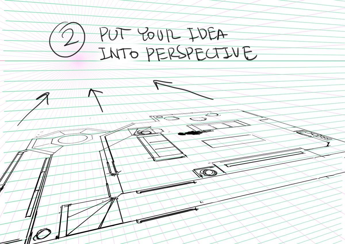 アニメ美術デザインの技術。僕が使っている部屋の描き方はこんな感じ。CGモデルをおこさなくても、わりと早く描ける方法です。 The way I design interiors digitally.