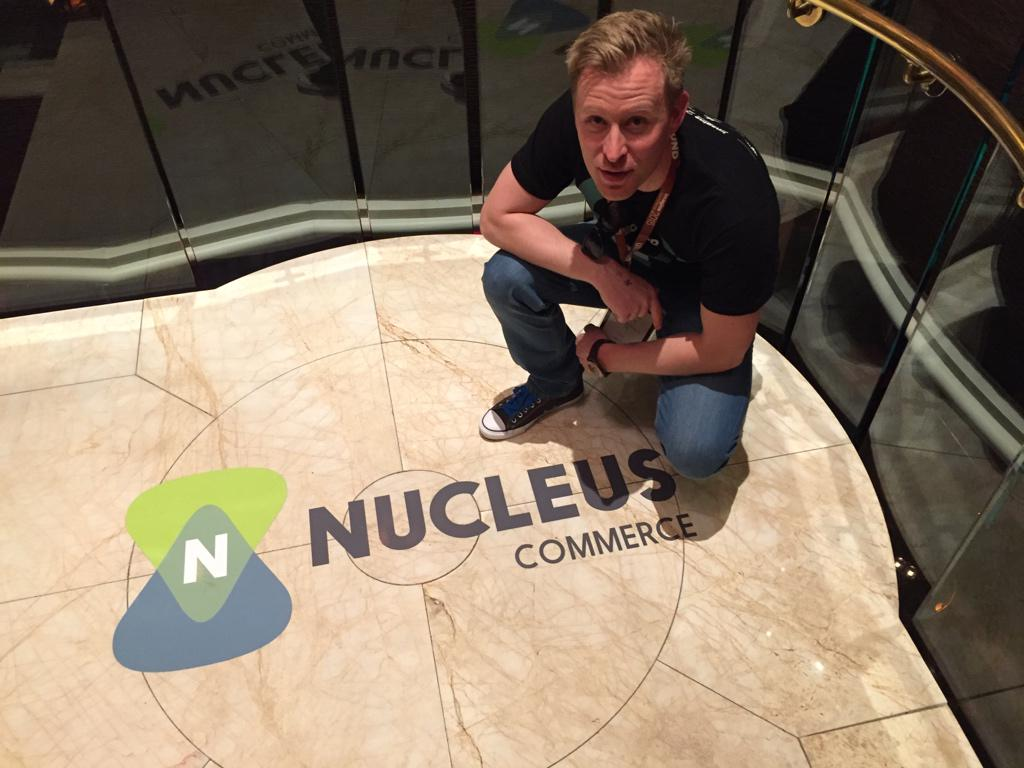 drlrdsen: On our way to the @NucleusCommerce launch party at #ImagineCommerce. The logo on the floor looks promising http://t.co/Y2TuWSpg89