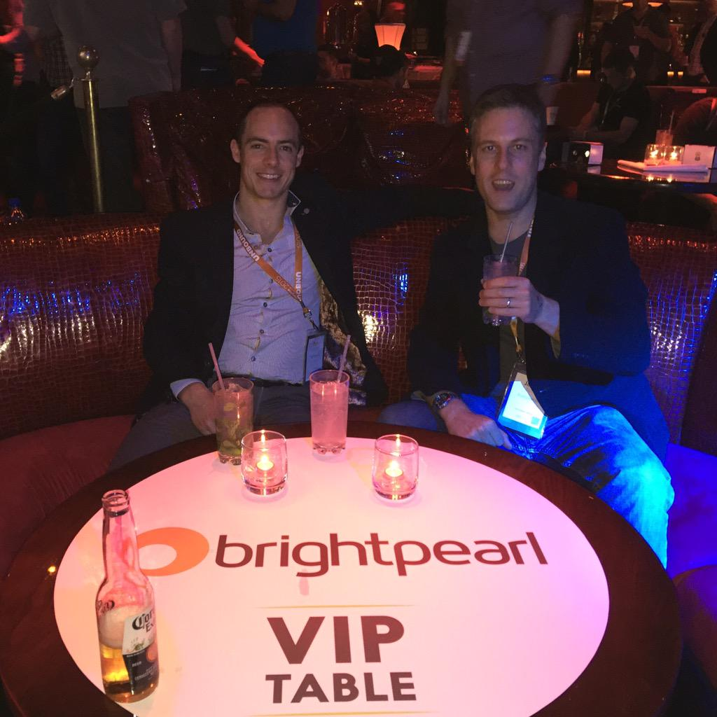 BrightpearlHQ: .@ukjamesscott @tomglason Rocking the @BrightpearlHQ VIP table at the @NucleusCommerce after party. #ImagineCommerce http://t.co/UL9OTR1cGk