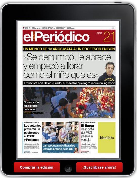 Esta es la mejor portada posible de este lamentable asunto. Enhorabuena a El Periódico. http://t.co/gdCBGJgRxw