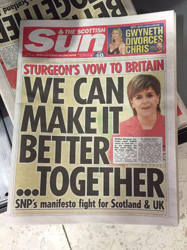 """RT @GwynneMP: Murdoch / Tory tactics now exposed: smear #Labour with SNP """"threat"""" in England, lavish praise on same SNP in Scotland http://…"""