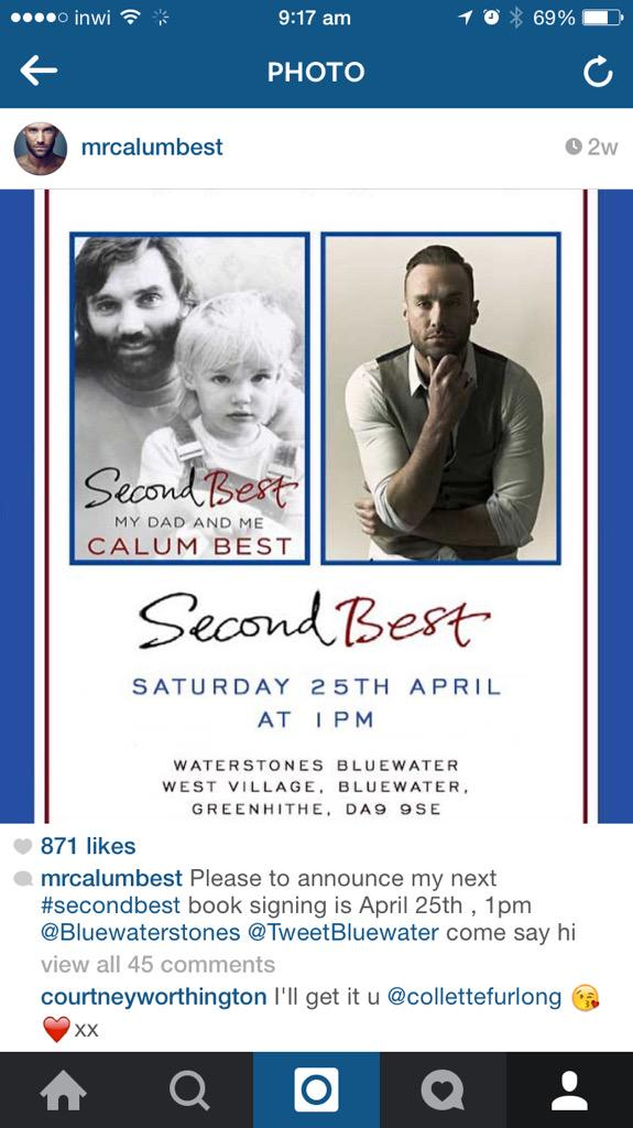 Morning , this Saturday come join me for #secondbest book signing @1pm @TweetBluewater @Bluewaterstones http://t.co/tes9t0Ep2t