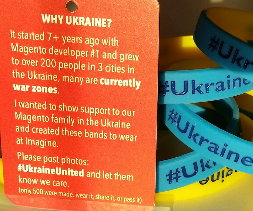 BobSchwartz: #ImagineCommerce find the  bands, wear & share them. Show we are thinking #UkraineUnited http://t.co/vit03M8ujc