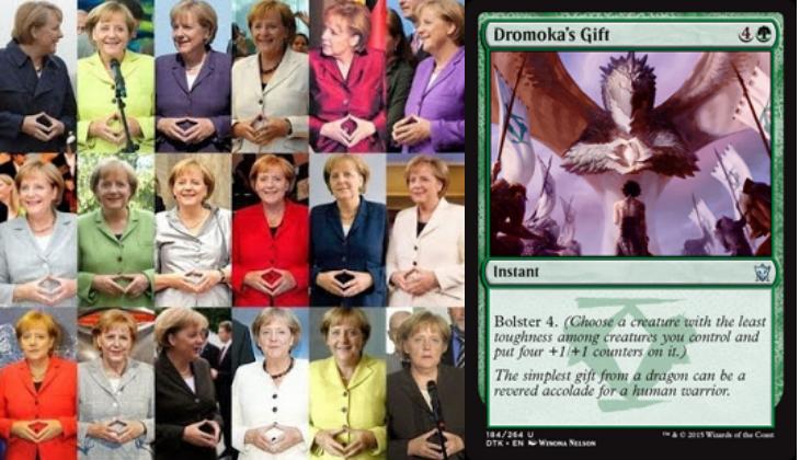 German MTG players: confirm/deny the theory that Angela Merkel is the human avatar of Dragonlord Dromoka? Thx Reddit! http://t.co/gc7G0LPIVp