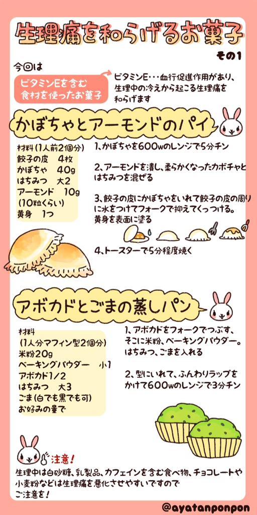 生理痛を和らげるお菓子その1〜その3 生理中にオススメの食べ物 生理痛を悪化させる食べ物 まとめ
