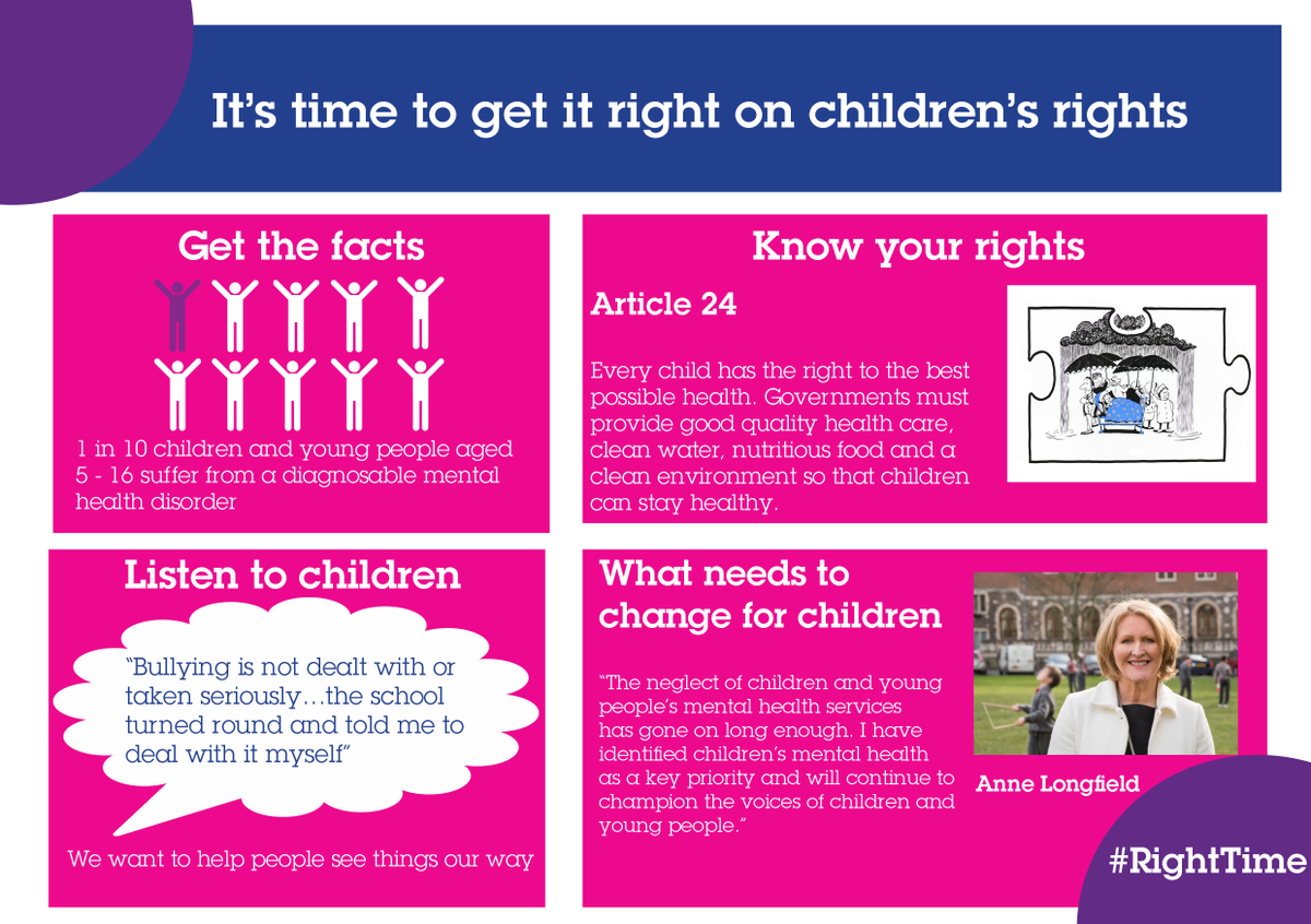 1 in 10 children & yp suffer from a #mentalhealth disorder. Every child has right to best possible health. #RightTime http://t.co/RI0hhD101A
