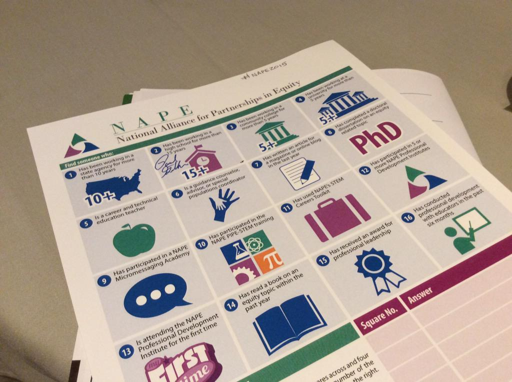 ...gotta love a conference that uses a BINGO-style game for networking activities!  #nape2015 http://t.co/PDpi191tHJ