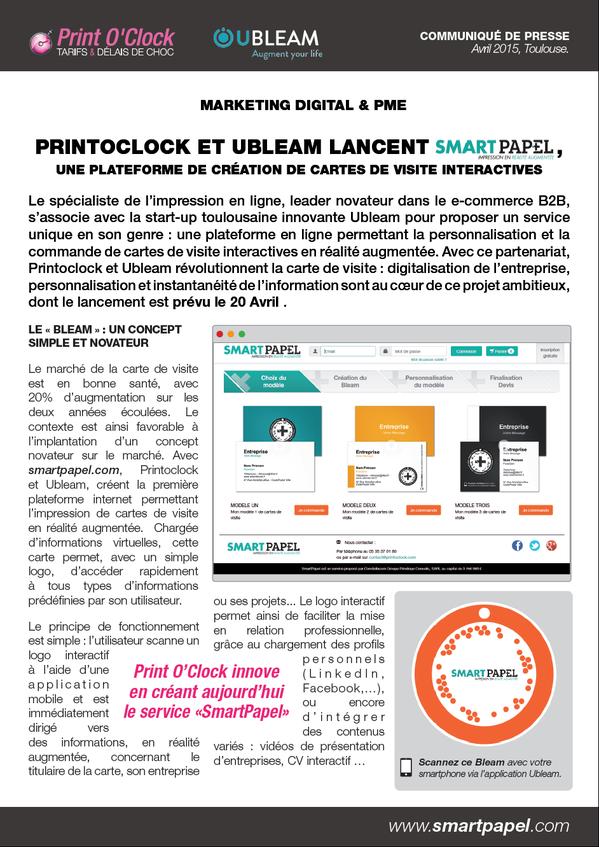PrintOClock Et Ubleam Innovent Avec Smartpapel Cc Pressecitron 1001 Startups Locitapictwitter K0FtuSooys