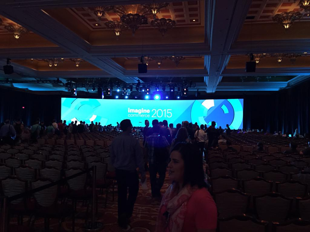 drlrdsen: The general session at #ImagineCommerce is about to begin. The stage is huge and awesome as expected! http://t.co/h4e38Tii9A