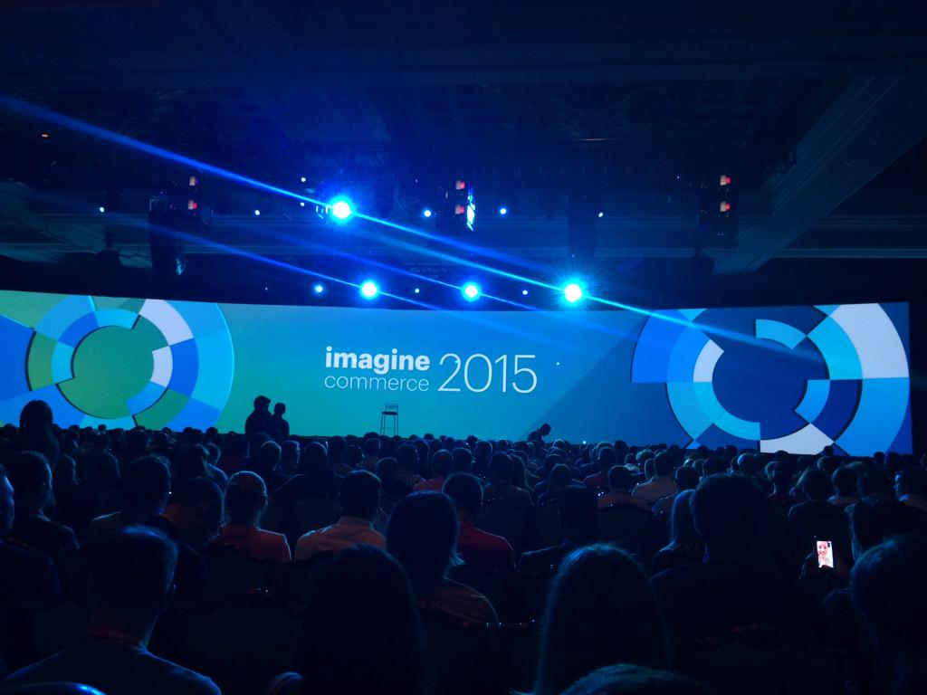 blackbooker: Everyone's getting packed in for the grand keynote!! Woohoo!! #ImagineCommerce http://t.co/luD2QkORK3