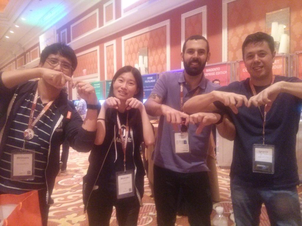 sherrierohde: Throwing the @Magento M with community leaders from Japan and Uruguay! #imaginecommerce http://t.co/SU8064jvVt