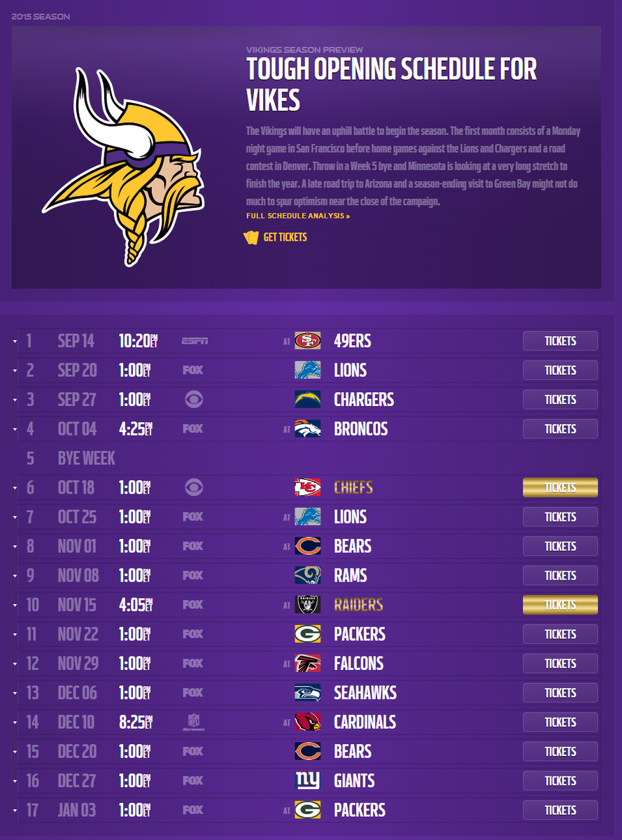 Minnesota Vikings Schedule 2015 2016 Printable | Search Results ...