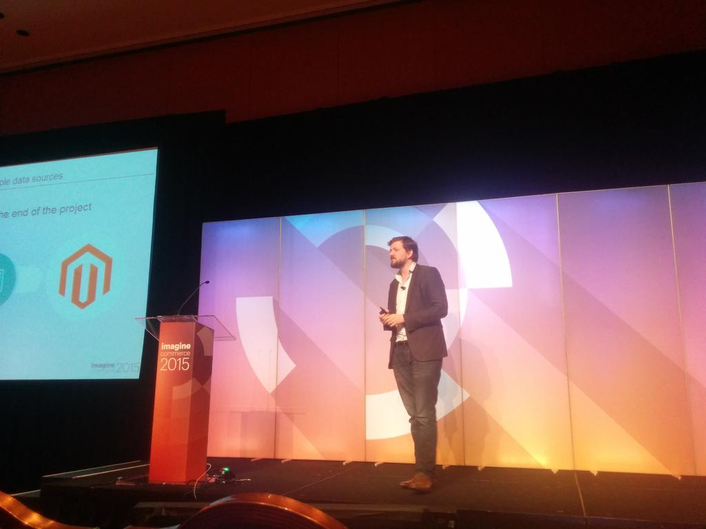 duponico: .@FdeGombert is on stage to talk about Product Information Management ! #PIM  #MagentoImagine #Akeneo http://t.co/rP745PVfgQ