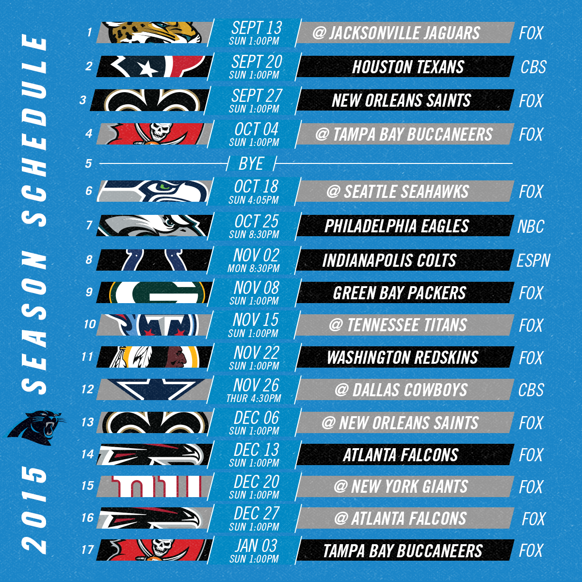 """Carolina Panthers on Twitter: """"The #Panthers 2015 schedule ..."""