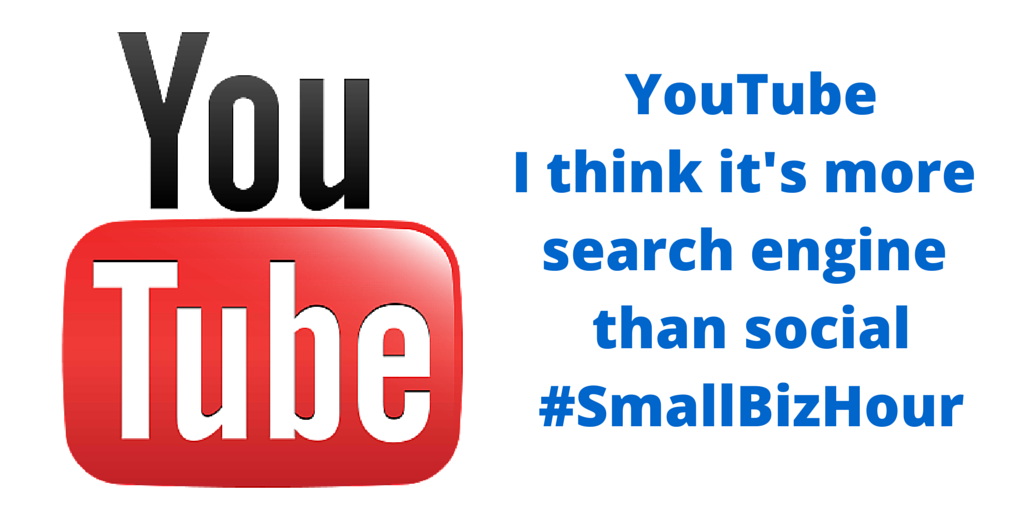 @besocialstyle - I have a question about YouTube - Search engine or social? #smallbizhour http://t.co/JNvn0Nc2gY